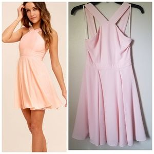 Lulu's forevermore skater dress pink fit flare XS